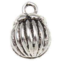 Zinc Alloy Bell Charm antique silver color plated corrugated nickel lead   cadmium free 12x16x11mm Hole:Approx 2mm 100PCs/Bag