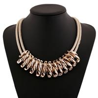 CCB Ожерелья, Искусственная кожа, с Пластик с медным покрытием, с 2lnch наполнитель цепи, Золотой, 50mm, длина:Приблизительно 17 дюймовый, 10пряди/Лот, продается Лот