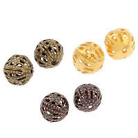 Iron Jewelry Beads, Round, plated, hollow, more colors for choice, nickel, lead & cadmium free, 8mm, Hole:Approx 1mm, 200PCs/Bag, Sold By Bag