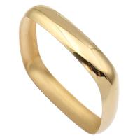 Stal nierdzewna Bransoletka, Kwadrat, Platerowane w kolorze złota, 71x71x12mm, średnica wewnętrzna:około 66mm, długość:około 8 cal, sprzedane przez PC