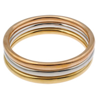 Stainless Steel Bangle Set, Donut, plated, 3-strand, multi-colored, 76x6mm, Inner Diameter:Approx 64mm, Length:Approx 7.5 Inch, 3PCs/Set, Sold By Set