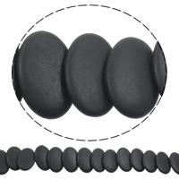 Black Stone Beads, Plat Ovaal, natuurlijk, frosted, 20x30x5mm, Gat:Ca 1mm, Lengte:Ca 15 inch, 5strengen/Bag, Ca 25pC's/Strand, Verkocht door Bag