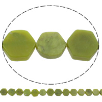 Peridot Stone Beads, Hexagon, natural, August Birthstone, 18x18x6mm, Hole:Approx 1mm, Length:Approx 15 Inch, 5Strands/Bag, Approx 23PCs/Strand, Sold By Bag