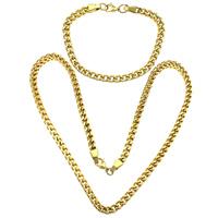Ogranicz ze stali nierdzewnej Zestawy biżuterii, bransoletka & naszyjnik, Stal nierdzewna, Platerowane w kolorze złota, łańcucha krawężnika, 9x6x1.5mm, 9x6x1.5mm, długość:około 24 cal, około 10 cal, 10zestawy/wiele, sprzedane przez wiele