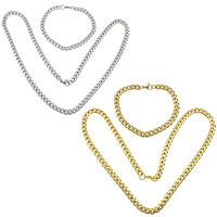 Refine Stainless Steel Jewelry Sets, bracelet & necklace, plated, different size for choice & curb chain, more colors for choice, 10Sets/Lot, Sold By Lot