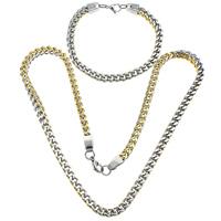 Ogranicz ze stali nierdzewnej Zestawy biżuterii, bransoletka & naszyjnik, Stal nierdzewna, Powlekane, łańcucha krawężnika & Dwukolorowe, 8x6x1.5mm, 8x6x1.5mm, długość:około 23 cal, około 9 cal, 10zestawy/wiele, sprzedane przez wiele