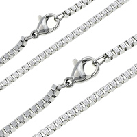 Stainless Steel Chain Necklace, plated, different size for choice & box chain, more colors for choice, Sold Per Approx 17.5 Inch Strand