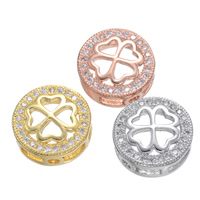 Cubic Zirconia Micro Pave Brass Connector Flat Round plated micro pave cubic zirconia   multi loops nickel lead   cadmium free 12mm Hole:Approx 1.6mm 5PCs/Lot