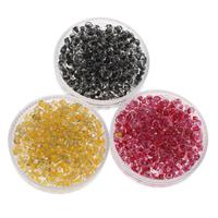 Szklane koraliki z kolorowa linią, Koraliki szklane, Koło, Pokryte kolorem, dostępnych więcej kolorów, 2x3mm, otwór:około 1mm, około 3330komputery/torba, sprzedane przez torba
