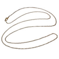 Iron Necklace Chain, antique bronze color plated, rolo chain, nickel, lead & cadmium free, 2x2x1mm, Sold Per Approx 29 Inch Strand