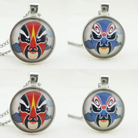 Time Gem Jewelry Necklace, Zinc Alloy, with Paper & Glass, Flat Round, silver color plated, Beijing opera mask design & twist oval chain & different designs for choice, nickel, lead & cadmium free, 25mm, Sold Per Approx 21 Inch Strand