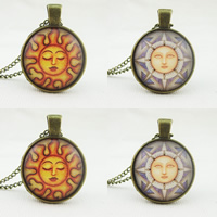 Time Gem Jewelry Necklace, Zinc Alloy, with Paper & Glass, Flat Round, antique bronze color plated, sun design & twist oval chain & different designs for choice, nickel, lead & cadmium free, 25mm, Sold Per Approx 21 Inch Strand
