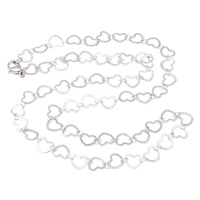 Stainless Steel Chain Necklace, heart chain, original color, 7x6.50x0.50mm, Sold Per Approx 19.5 Inch Strand