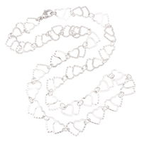Stainless Steel Chain Necklace, heart chain, original color, 13x10x0.50mm, Sold Per Approx 18.5 Inch Strand