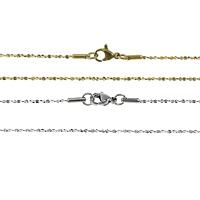 Stal nierdzewna Nekclace Chain, Powlekane, dostępnych więcej kolorów, 1mm, długość:około 18 cal, 20nici/wiele, sprzedane przez wiele