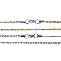 Stal nierdzewna Nekclace Chain, Powlekane, lina łańcucha, dostępnych więcej kolorów, 2mm, długość:około 30 cal, 20nici/wiele, sprzedane przez wiele