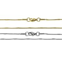 Stal nierdzewna Nekclace Chain, Powlekane, wąż łańcucha, dostępnych więcej kolorów, 1.5mm, 1mm, długość:około 17 cal, 20nici/wiele, sprzedane przez wiele