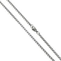 Stal nierdzewna Nekclace Chain, pole łańcucha, oryginalny kolor, 3x3x1.70mm, długość:około 19 cal, 50nici/wiele, sprzedane przez wiele