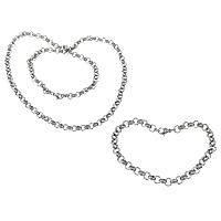 Ogranicz ze stali nierdzewnej Zestawy biżuterii, bransoletka & naszyjnik, Stal nierdzewna, Rolo łańcucha, oryginalny kolor, 6x6x2mm, 6x6x2mm, długość:około 8 cal, około 24 cal, 10zestawy/wiele, sprzedane przez wiele