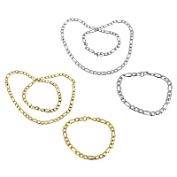 Refine Stainless Steel Jewelry Sets, bracelet & necklace, plated, figaro chain, more colors for choice, 13x6x1.5mm, 9x6x1.5mm, 13x6x1.5mm, 9x6x1.5mm, Length:Approx 8 Inch, Approx 23 Inch, 10Sets/Lot, Sold By Lot