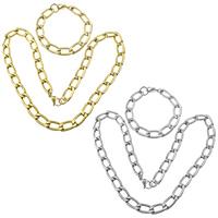 Ogranicz ze stali nierdzewnej Zestawy biżuterii, bransoletka & naszyjnik, Stal nierdzewna, Powlekane, łańcucha krawężnika, dostępnych więcej kolorów, 22.5x11.5x3mm, 22.5x11.5x3mm, długość:około 24 cal, około 9 cal, 5zestawy/wiele, sprzedane przez wiele