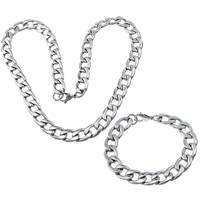 Refine Stainless Steel Jewelry Sets, bracelet & necklace, curb chain, original color, 19x13x3mm, 19x13x3mm, Length:Approx 24.5 Inch, Approx 8.5 Inch, 5Sets/Lot, Sold By Lot