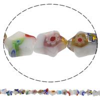 Стеклянные бусины, выполненные в технике миллефиори, Миллефиори, Звезда, Связанный вручную, 10x10x3mm, отверстие:Приблизительно 1mm, длина:Приблизительно 13.4 дюймовый, 10пряди/сумка, Приблизительно 34ПК/Strand, продается сумка