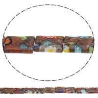 Украшения стеклянные Миллефиори бусы, Голдсэнд Миллефиори, Прямоугольная форма, Связанный вручную, 14x10x3mm, отверстие:Приблизительно 1mm, длина:Приблизительно 14.7 дюймовый, 10пряди/сумка, Приблизительно 26ПК/Strand, продается сумка