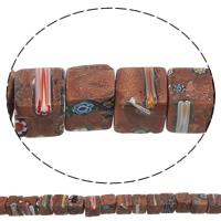 Украшения стеклянные Миллефиори бусы, Голдсэнд Миллефиори, Куб, Связанный вручную, 8x8mm, отверстие:Приблизительно 1mm, длина:Приблизительно 16.3 дюймовый, 10пряди/сумка, Приблизительно 39ПК/Strand, продается сумка