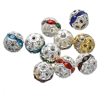 Rhinestone Spacers, Brass, Round, plated, with rhinestone, more colors for choice, nickel, lead & cadmium free, 8mm, Hole:Approx 1.6mm, 200PCs/Lot, Sold By Lot