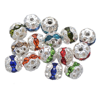 Rhinestone Spacers, Brass, Round, silver color plated, with rhinestone, more colors for choice, nickel, lead & cadmium free, 6mm, Hole:Approx 1.2mm, 200PCs/Lot, Sold By Lot