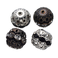 Rhinestone Spacers, Brass, Drum, plated, with rhinestone, mixed colors, nickel, lead & cadmium free, 10mm, Hole:Approx 1.5mm, 400PCs/Lot, Sold By Lot