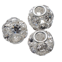 Rhinestone Spacers, Brass, Drum, silver color plated, with rhinestone, nickel, lead & cadmium free, 16mm, Hole:Approx 5.4mm, 50PCs/Lot, Sold By Lot