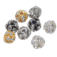 Rhinestone Spacers, Brass, Round, plated, with rhinestone, more colors for choice, nickel, lead & cadmium free, 6mm, Hole:Approx 2mm, 100PCs/Lot, Sold By Lot