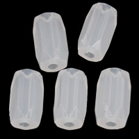 Jelly Style Acrylic Beads, Tube, faceted, white, 6x10mm, Hole:Approx 1mm, 2Bags/Lot, Approx 2270PCs/Bag, Sold By Lot