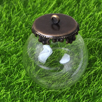 Стеклянный Купол Крышка Кулон, с цинковый сплав, Покрытие под бронзу старую, очистить, не содержит никель, свинец, 25mm, отверстие:Приблизительно 2mm, 50ПК/Лот, продается Лот
