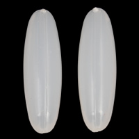 Jelly Style Acrylic Beads, Oval, white, 9x31mm, Hole:Approx 1mm, 2Bags/Lot, Approx 380PCs/Bag, Sold By Lot