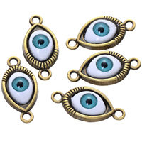 Evil Eye Connector, Zinc Alloy, antique bronze color plated, epoxy sticker & 1/1 loop, nickel, lead & cadmium free, 12x26mm, Hole:Approx 2.3mm, 500PCs/Lot, Sold By Lot