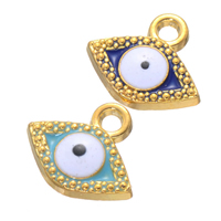 Evil Eye Pendants, Zinc Alloy, gold color plated, enamel, more colors for choice, nickel, lead & cadmium free, 15x13mm, Hole:Approx 2.4mm, 500PCs/Lot, Sold By Lot