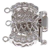 Brass Box Clasp, platinum color plated, micro pave cubic zirconia & 3-strand, nickel, lead & cadmium free, 22x23x7mm, Hole:Approx 3mm, Sold By PC
