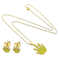 Refine Stainless Steel Jewelry Sets, earring & necklace, Hand, gold color plated, oval chain & enamel, grass green, 2x1.5x0.3mm, 18x22x2mm, 7x8x13mm, Length:Approx 18 Inch, 10Sets/Lot, Sold By Lot