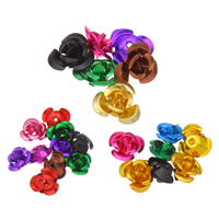 Aluminium bloem kralen, geschilderd, Chinees & verschillende grootte voor keus & gelaagde, meer kleuren voor de keuze, nikkel, lood en cadmium vrij, Gat:Ca 1mm, 930pC's/Bag, Verkocht door Bag