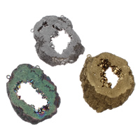 Druzy Connector Ice Quartz Agate with iron bail natural druzy style 1/1 loop Hole:Approx 2mm 10PCs/Bag