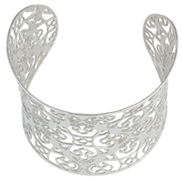 Stainless Steel Cuff Bangle, hollow, original color, 60x58x60mm, Inner Diameter:Approx 57x53mm, Length:Approx 7 Inch, Sold By PC