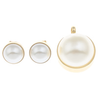 Fashion Stainless Steel Jewelry Sets, pendant & earring, with ABS Plastic Pearl, Flat Round, gold color plated, 22x35x11mm,15x8mm, Hole:Approx 4.5mm, Sold By Set
