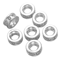 Rhinestone Spacers, Zinc Alloy, Donut, silver color plated, with rhinestone, nickel, lead & cadmium free, 9mm, Hole:Approx 4.3mm, 50PCs/Lot, Sold By Lot