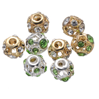 Rhinestone Spacers, Zinc Alloy, Drum, plated, with rhinestone & hollow, more colors for choice, nickel, lead & cadmium free, 12mm, Hole:Approx 3.7mm, 50PCs/Lot, Sold By Lot