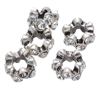 Rhinestone Spacers, Zinc Alloy, Flower, platinum color plated, with rhinestone, nickel, lead & cadmium free, 6.40x11.20mm, Hole:Approx 5.5mm, 50PCs/Lot, Sold By Lot