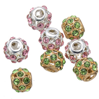 Rhinestone Spacers, Zinc Alloy, Drum, plated, with rhinestone & hollow, more colors for choice, nickel, lead & cadmium free, 11mm, Hole:Approx 3.5mm, 50PCs/Lot, Sold By Lot