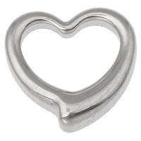 Roestvrij staal ring connectors, Hart, oorspronkelijke kleur, 17x17x4.50mm, Gat:Ca 12x8mm, 50pC's/Bag, Verkocht door Bag